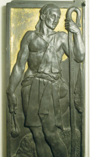 Bronze panel of Jonathan.  Royal Fusiliers memorial