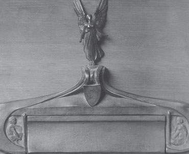 Early bronze letterbox by Gilbert Bayes