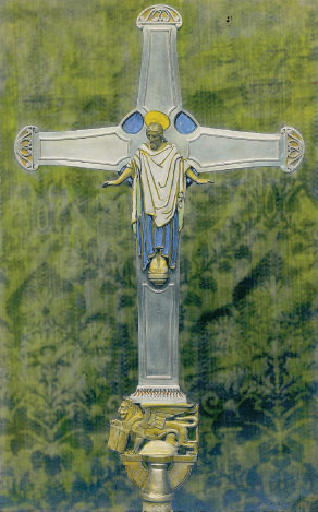 Photograph hand-coloured by Bayes of the St Mark's processional cross, 1926