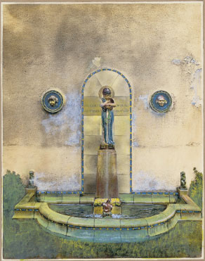 Hand-coloured concept by Bayes for a garden scheme, featuring the boy with Fish, or Blue Robed Bambino fountain, c.1928
