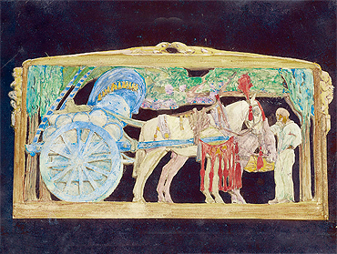 The Roman Wine Cart, carved and coloured wood, 1923